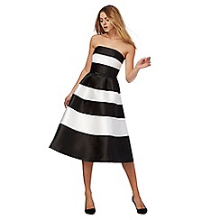 Debut - Black and white stripe print bandeau midi prom dress