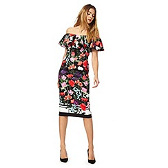 Debut - Multi-coloured floral print satin bardot neck evening dress