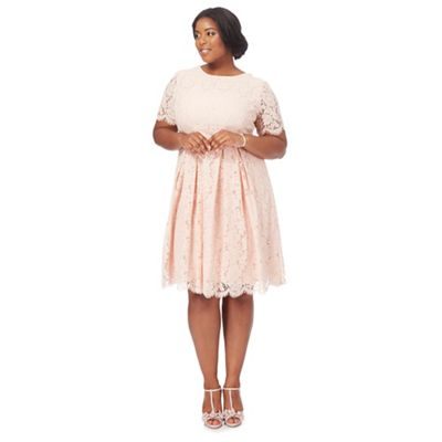 972cb824503 Debut Light pink lace  Lucie  knee length plus size prom dress ...