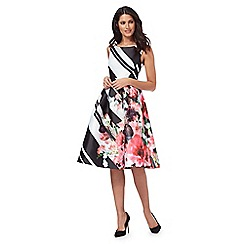 Debut - Black and white block striped floral prom dress
