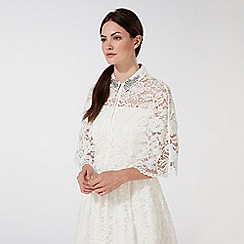 Debut - Ivory 'Eternity' lace stone embellished collar cape