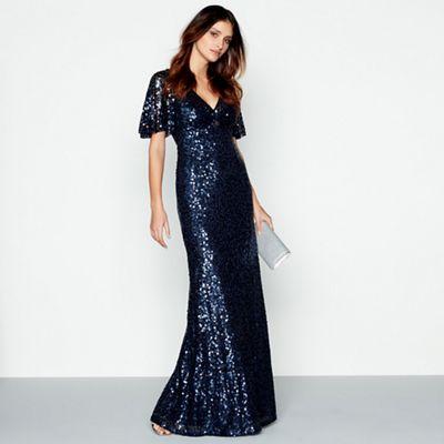 No. 1 Jenny Packham Blue embellished \'Carys\' v-neck evening dress ...