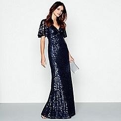 No. 1 Jenny Packham - Blue embellished 'Carys' v-neck evening dress