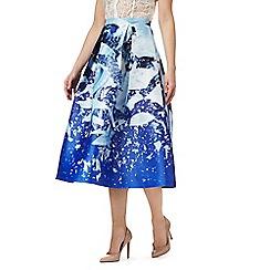 Siren by Giles - Blue 'Elsie' printed midi skirt