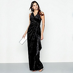 Debut - Black velvet 'Viv' v-neck evening dress