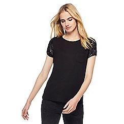 Nine by Savannah Miller - Black sequin sleeves t-shirt