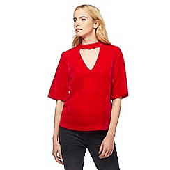 Nine by Savannah Miller - Red velvet choker top
