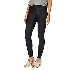 Nine by Savannah Miller - Black mid rise skinny coated jeans