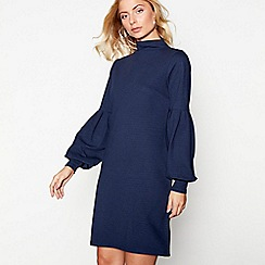 Nine by Savannah Miller - Navy jersey high neck long sleeves shift dress