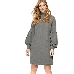Nine by Savannah Miller - Grey jersey high neck long sleeve knee length shift dress