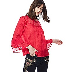 Nine by Savannah Miller - Dark pink lace trim jacquard top