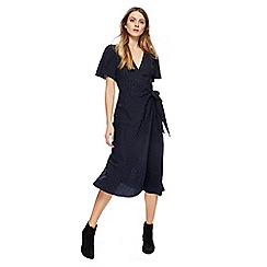 Nine by Savannah Miller - Navy star textured V-neck midi wrap dress