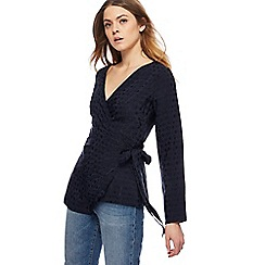 Nine by Savannah Miller - Navy star textured wrap top