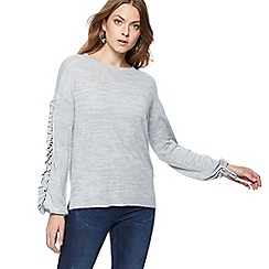 Nine by Savannah Miller - Grey ruffle sleeve wool blend jumper