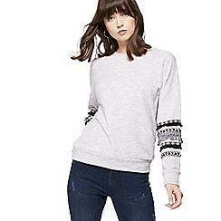 Nine by Savannah Miller - Grey fringed sleeve detail sweatshirt