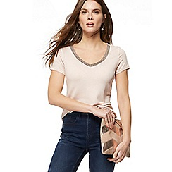 Nine by Savannah Miller - Light pink beaded V-neck t-shirt
