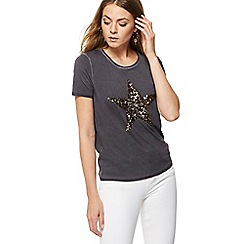 Nine by Savannah Miller - Dark grey sequinned embellished star t-shirt
