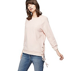 Nine by Savannah Miller - Pink ribbed side tie sweatshirt