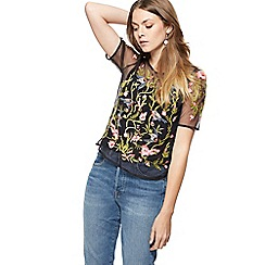 Nine by Savannah Miller - Black bird embroidered top with a camisole
