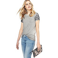 Nine by Savannah Miller - Grey sequin sleeve pocket t-shirt