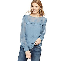 Nine by Savannah Miller - Blue Broderie Anglaise top