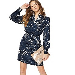 Nine by Savannah Miller - Navy star print long sleeve mini shirt dress