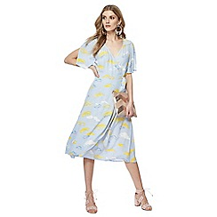 Nine by Savannah Miller - Blue cloud print V-neck short sleeve midi wrap dress