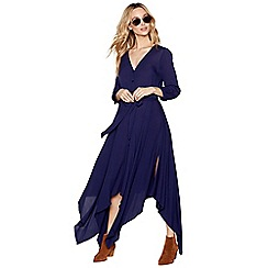 Nine by Savannah Miller - Navy hanky hem V-neck midi dress