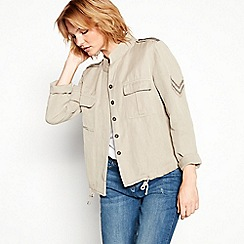 Nine by Savannah Miller - Khaki cotton and linen blend jacket