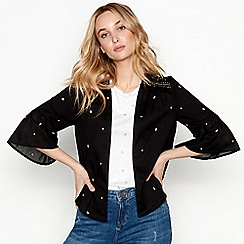Nine by Savannah Miller - Black embroidered cotton 3/4 sleeve jacket