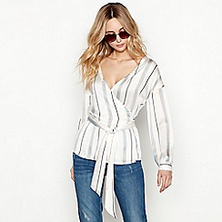 Nine by Savannah Miller - Off white stripe print long sleeve wrap top