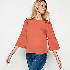 Nine by Savannah Miller - Terracotta cheesecloth ruffle sleeve tunic top