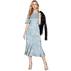 Nine by Savannah Miller - Pale blue floral print satin round neck short sleeve midi dress
