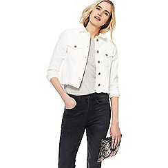 Nine by Savannah Miller - White frayed hem denim jacket
