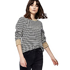 Nine by Savannah Miller - Black and Cream striped metallic trim jumper