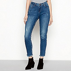 Nine by Savannah Miller - Dark blue ravaged hem mid wash cotton blend slim fit skinny jeans