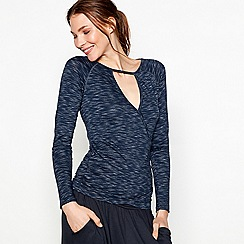 Nine by Savannah Miller - Navy ballet wrap long sleeve top