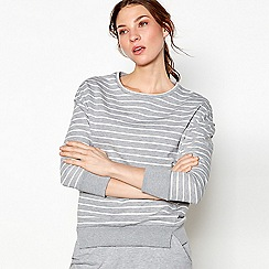 Nine by Savannah Miller - Grey stripe split hem sweatshirt