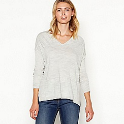 Nine by Savannah Miller - Grey V-neck slouchy wool blend jumper