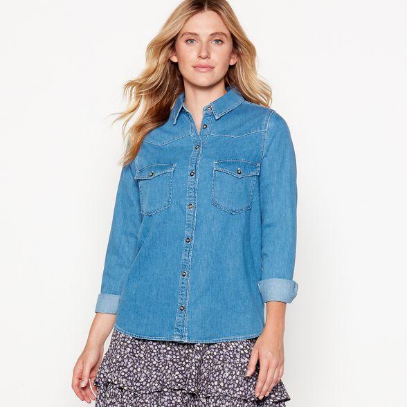 denim by cotton Savannah Nine Miller sleeve pure long shirt Blue vqd8xC