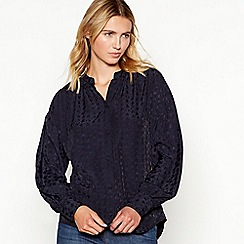 Nine by Savannah Miller - Navy star jacquard blouse