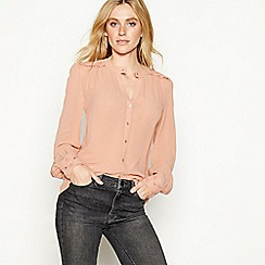 Nine by Savannah Miller - Light pink embroidered shoulder blouse