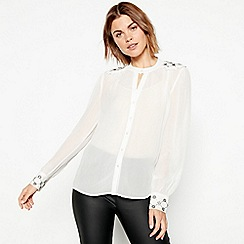 Nine by Savannah Miller - Ivory embroidered shoulder blouse