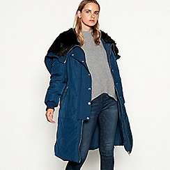 Nine by Savannah Miller - Navy faux fur lined hooded parka coat