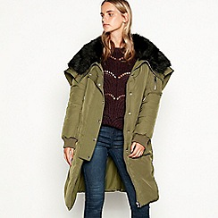 Nine by Savannah Miller - Khaki faux fur lined hooded parka coat