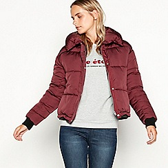 Nine by Savannah Miller - Maroon detachable collar puffer jacket