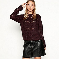 Nine by Savannah Miller - Wine pointelle knit jumper with wool