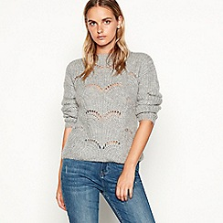Nine by Savannah Miller - Grey pointelle knit wool blend jumper