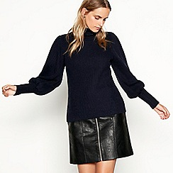 Nine by Savannah Miller - Navy knitted roll neck jumper with wool