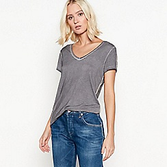Nine by Savannah Miller - Grey embellished shoulder T-shirt